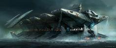 Spaceship art by Steve Jung. Keywords: digital concept spaceship art by professional concept designer s.