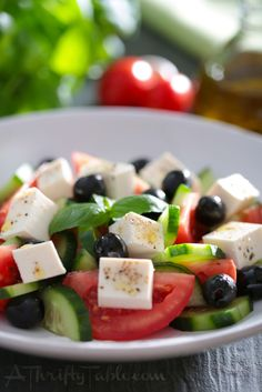 Greek Salad with Lemon and Basil - A Thrifty Table