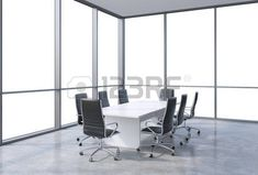 Panoramic conference room in modern office, copy space view from the windows. Black chairs and a white table. 3D rendering. photo
