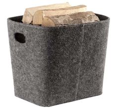 Contemporary, grey felt log holder, perfect for the modern home interior. Deep, Rectangular, log storage basket for containing Firewoodr with a Scandinavian Style.