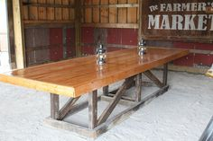 DIY Barn trestle table. Love the Farmer's Market sign in the background too!