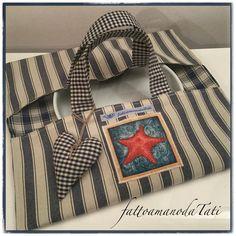 Porta torte in cotone a righe blu con appliquè stella marina, by fattoamanodaTati, 22,00 € su misshobby.com
