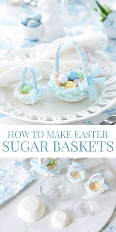 Make your own Easter Sugar Baskets with this easy step-by-step tutorial! These are so charming filled with mini chocolate eggs as an Easter favor! Easter Ideas, Easter Crafts, Party Treats, Party Favors, Diy Party Crafts, Fruit Kabobs, Easter Party, Girly Outfits, Party Printables