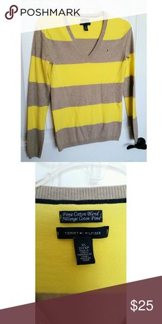 Tommy Hilfiger Sweater In great condition! Yellow and beige stripes. Tommy Hilfiger Sweaters V-Necks