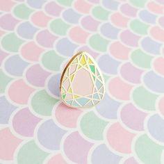 Rainbow Pastel Gem Stone Enamel Pin by fairycakes on Etsy