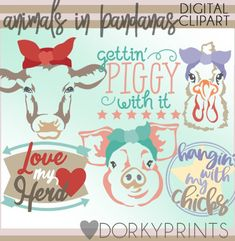 Farm Animal Bandana Clipart -Personal and Limited Commercial Use- pig, cow, chicken, farm clip art Clip Art Library, Simple Collage, Keep It To Yourself, Doodle Designs, For Your Party, Clipart Images, Embroidery Applique, Farm Animals, Party Invitations