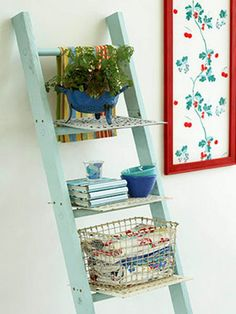 old ladder with shelves decorated with indoor plants