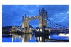 LONDON bridge in BLUE poster 24X36 HISTORIC landmark GREAT WALL DECOR