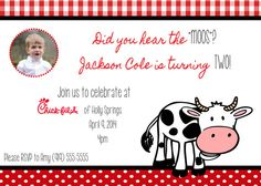 Chick-fil-A cow birthday invitation with or without picture - Digital File