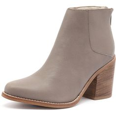 Sol Sana Leo Boot Taupe (3,285 MXN) ❤ liked on Polyvore featuring shoes, boots, ankle booties, leather bootie, short leather boots, high heel booties, block heel ankle boots and faux leather booties
