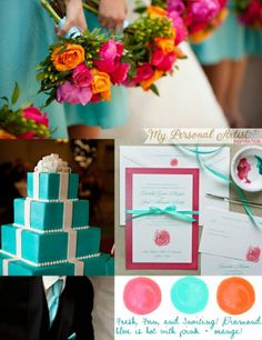 Help! Can't figure out colors--no one to help pick! :  wedding bridal party colors gerbera help orange pink planning teal Aqua Pink Orange Inspiration