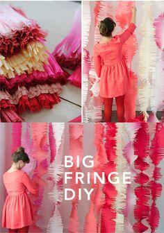 Fringe can b fun 2 Paper Wedding Decorations, Wedding Paper, Diy Wedding, Hanging Decorations, Crepe Paper Backdrop, 50th Birthday Party, Birthday Ideas, Happy Birthday, Ribbon Art