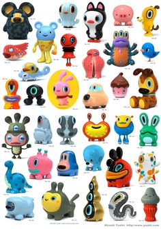 "Hiroshi Yoshii's wonderful urban vinyl ""Daily Work"" characters. He designed one a day."