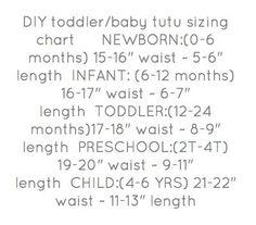 DIY toddler/baby Tutu sizing chart