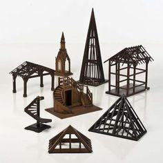 Pierluigi Ghianda (1926-2015) - Suite de huit maquettes de charpente, Bois divers.