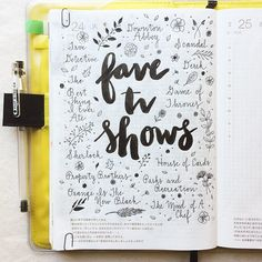 Today's prompt is from what are you watching on television these days? These shows are what I am currently watching or eagerly anticipating Pepper and Twine Bullet Journal Book, Bullet Journal Ideas Pages, Journal Entries, Bullet Journals, Wreck This Journal, Journal Prompts, Journal Pages, Art Journals, Do It Yourself Baby