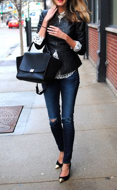 button up, leather jacket, metallic tipped shoes