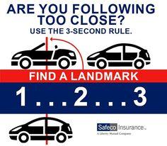 Thanks to Safeco Insurance for sharing! #AutoInsurance #Massachusetts #DrivingTip