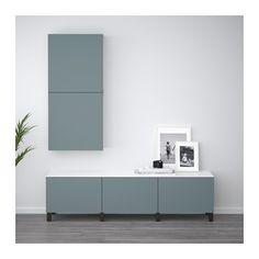 BESTÅ Storage combination with drawers - black-brown/Valviken gray-turquoise, drawer runner, push-open - IKEA