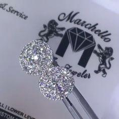 Round diamond halo stud earrings Jeweller: Marchello the Jeweler<br> Diamond Jewelry, Diamond Earrings, Platinum Earrings, Helix Earrings, Gold Jewelry, Silver Earrings, Hoop Earrings, Cartier Wedding Rings, Wedding Earrings