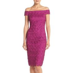 Adrianna Papell Off the Shoulder Lace Sheath Dress ($189) ❤ liked on Polyvore featuring dresses, crushed berry, lace cocktail dress, off shoulder lace dress, off the shoulder cocktail dress, sheath dress and purple lace cocktail dress