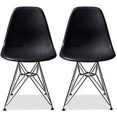 2xhome  Set of Two 2 Black  Eames Style Side Chair Chromed Wire Legs Eiffel Legs Dining Room Chair  Lounge Chair No Arm Arms Armless Less Chairs Seats Wooden Wood leg Wire leg >>> Be sure to check out this awesome product.Note:It is affiliate link to Amazon.
