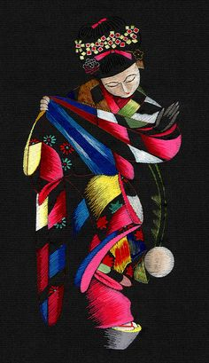 """Embroidery 1950s by Blue Ruin1, via Flickr : """"Embroidery 1950s  Hand-embroidered silk, clearly based on the much earlier postcard of Maiko Momotaro that follows, however, the image has been reversed in the process."""""""