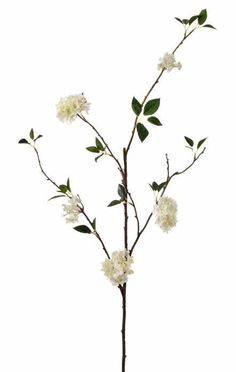"Faux Rambling Viburnum Branch Spray in White 47"" Tall"