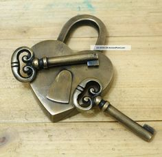 Vintage Love Heart Forever Padlock With Skeleton Keys Solid Brass Antique Lock Locks & Keys photo