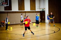 Youth Group Game: Frisbee Dodge Ball.  Same basic game play as dodge ball, but with frisbees.  Of course, head shots put the tosser out on the sidelines.  The last time we played this with students, we had a group of guys trying to dodge frisbees with their most creative Matrix moves. -H