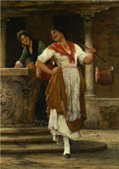 Meeting in the Square - Eugene de Blaas