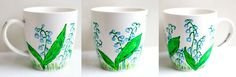 Lily of the valley; hand-painted mug; 370ml / Kristi Palm Art
