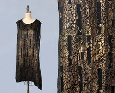RARE!! 1920s Dress / 20s Metallic Lame Dress / CHINOISERIE Motif! / Pagodas / Asymmetrical Fishtail Hem