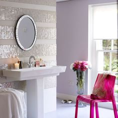 sparkle stripe tiling LOVE IT!  But I think my painted metallic stripe wall has almost the wow at a lot less price.