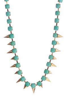 t + j Designs Mint & Gold Spike Necklace