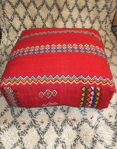 Vintage Moroccan Berber Kilim Pouf Floor Pillow
