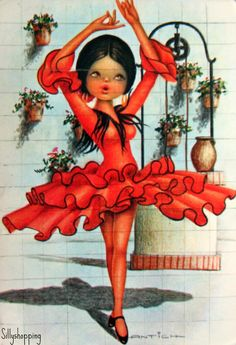 Vintage Big Eyed Spanish Girl Souvenir Postcard