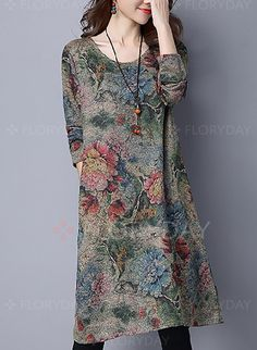 8326fff03e Dresses -  40.99 - Cotton Floral Long Sleeve Knee-Length Casual Dresses  (1955127075)