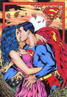 — comic-flavored-whovian: Superman and Lois Lane Wonder Woman Y Superman, Superman And Lois Lane, Superman Family, Batman And Superman, Clark Superman, Comic Book Characters, Comic Character, Comic Books Art, Comic Art