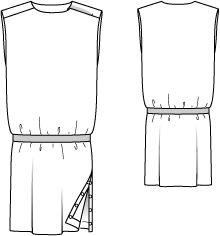 Kleid - gerade geschnitten, Seitenschlitz 107 0712 B