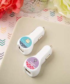 Personalized expressions collection car charger USB port - In today's electronic world, your family home is probably filled with dozens of devices that need charging and you are always short of ports! http://www.favorfavorbaby.com/p-6789ST_Baby.htm