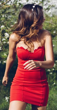 #summer #trendy #outfitideas Scallop Details Off The Shoulder Little Red Dress
