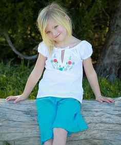 Love this White & Aqua Betty Peasant Top & Pants - Infant, Toddler & Girls on #zulily! #zulilyfinds