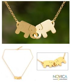 gold plated pendant necklace - elephant friendship