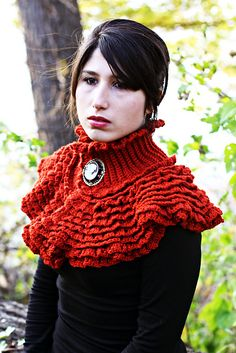 "Pattern available to buy for ""Ruffled Victorian Cowl"" by Bonita Patterns."