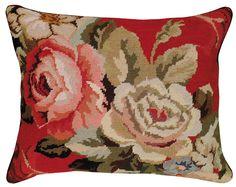 Diagonal Flowers Needlepoint Rectangular Pillow