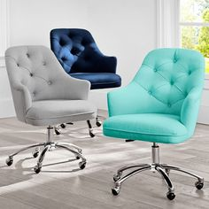21 Trendy Home Office Desk Chair Products Tufted Desk Chair, Bedroom Chair, Chair Cushions, Swivel Chair, Upholstered Chairs, Desk Chair Comfy, Ikea Desk Chair, White Desk Chair, Desk Mat