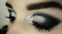 Black and silver smoky eyes eye makeup
