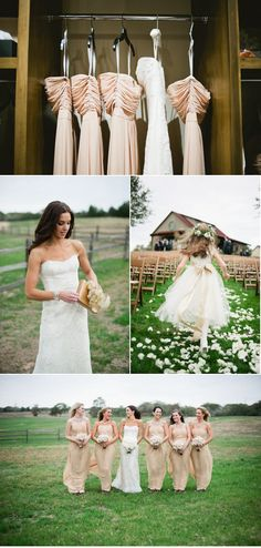 kinda like how the top picture is set up.. love how you see the brides dress and bridesmaids dresses :)