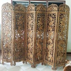 Vintage Teak Wood Carved Screen, Room Divider 6 panels Elephants wood Carving Room Decor Folding As Wood Carved Headboard, Asian Room, Wooden Room Dividers, Wood Appliques, Room Divider Screen, Wooden Screen, Home Decor Furniture, Asian Furniture, Hanging Wall Art